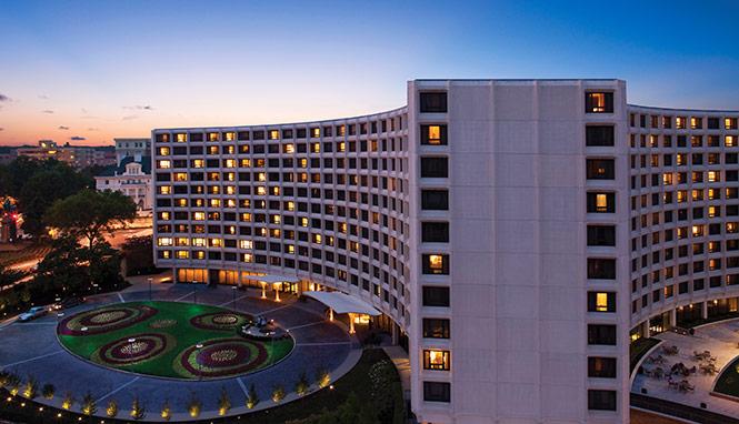 Exterior shot of Washington Hilton Hotel at dusk